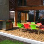 terrasse en lames ipé contremarche éclairante mobilier contemporain genève