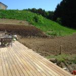 construction terrasse en bois exotique sur carrelets bois imprégné